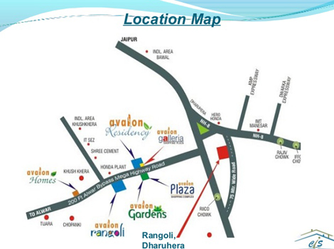 Location Map of Avalon Rangoli Dharuhera